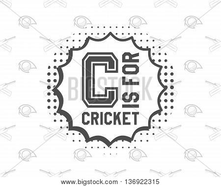 Retro cricket club emblem design. Cricket logo icon design. Cricket badge. Sports logo symbols with cricket gear, equipment. Cricket tee design. Tee shirt emblem. T-Shirt prints retro style.