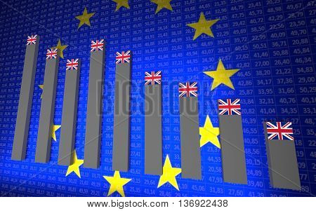 Conception of GB and EU economy. Blue background. 3D rendering.