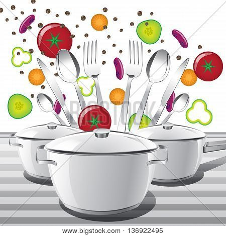 Set of pans and tea spoons spoons forks and knives. Vector illustration