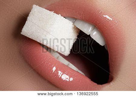 Lips Close-up. Professional Make-up. Lipgloss. Lipstick