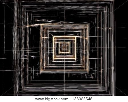 Abstract technology background -  computer-generated image. Fractal pattern - chaos lines like square tunnel, well or chip. Digital art for covers, posters, web design.