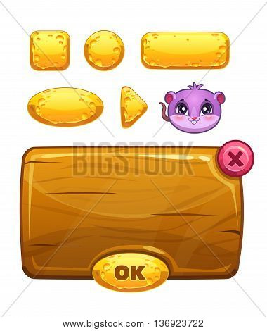 Funny cartoon cheese user interface for kids game design, vector GUI assets isolated on white background