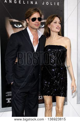 Brad Pitt and Angelina Jolie at the Los Angeles premiere of 'Salt' held at the Grauman's Chinese Theater in Los Angeles, USA on July 19, 2010.