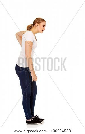 Young woman with back ache