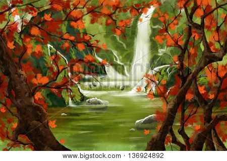 Waterfall Forest with Red Leaves Tree. Watercolor Style Artwork