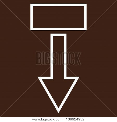 Pull Arrow Down vector icon. Style is stroke icon symbol, white color, brown background.