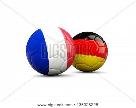 France And Germany Soccer Balls Isolated On White