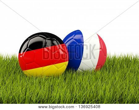 France And Germany Soccer  Balls On Grass