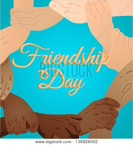 Vector illustration beautiful card for friendship day with promise hand. vector illustration