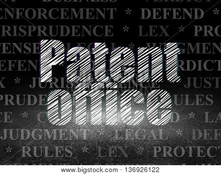 Law concept: Glowing text Patent Office in grunge dark room with Dirty Floor, black background with  Tag Cloud