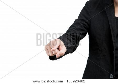 wagging wearing a black suit finger on white background.