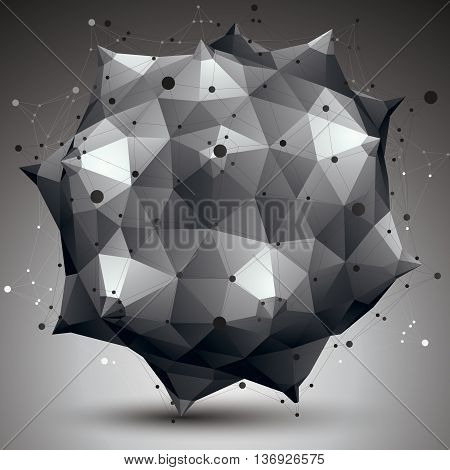 Vector complicated 3d figure modern digital technology style form. Abstract unusual background.