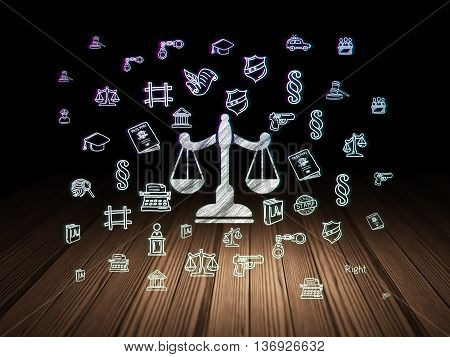 Law concept: Glowing Scales icon in grunge dark room with Wooden Floor, black background with  Hand Drawn Law Icons