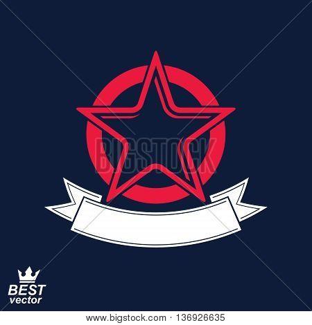 Stylized corporate icon. Vector pentagonal star with decorative ribbon decorative emblem.