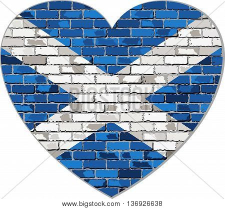 Scotland flag on a brick wall in heart shape - Illustration, Scottish flag in brick style,  Abstract grunge Scotland flag