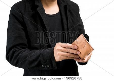 businessman wearing a black suit hands holding open wallet