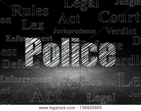 Law concept: Glowing text Police in grunge dark room with Dirty Floor, black background with  Tag Cloud
