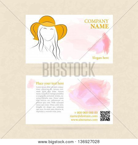 Vector template of horisontal business card woman in summer hat with qr code. Two sides