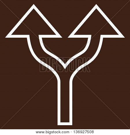 Split Arrows Up vector icon. Style is stroke icon symbol, white color, brown background.