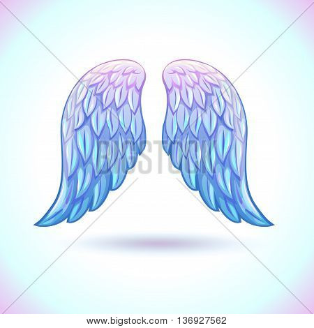 Beautiful cartoon angel wings illustration, vector angel white wings icon, isolated on white