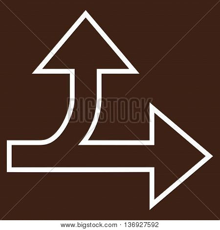 Split Direction Right Forward vector icon. Style is stroke icon symbol, white color, brown background.