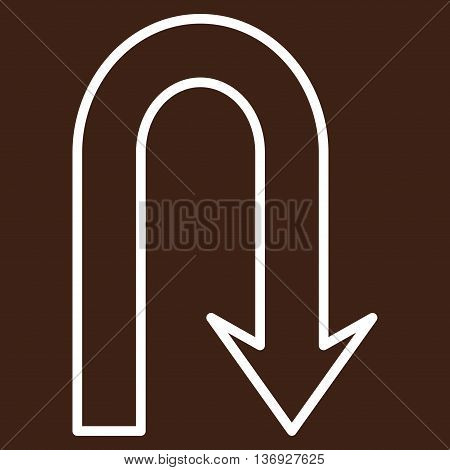 Turn Back vector icon. Style is stroke icon symbol, white color, brown background.