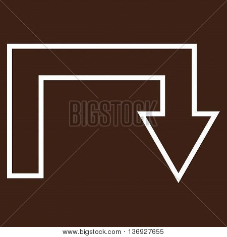 Turn Back vector icon. Style is contour icon symbol, white color, brown background.
