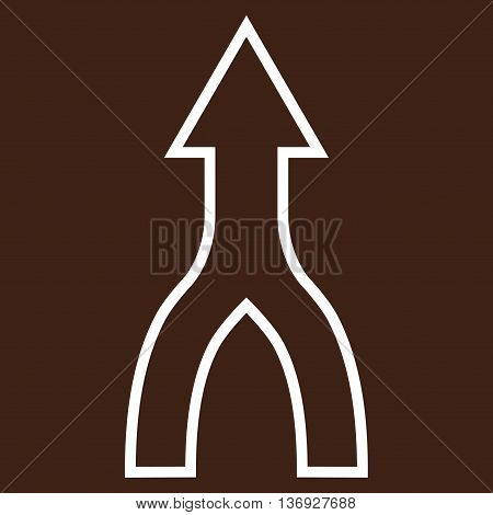 Unite Arrow Up vector icon. Style is stroke icon symbol, white color, brown background.