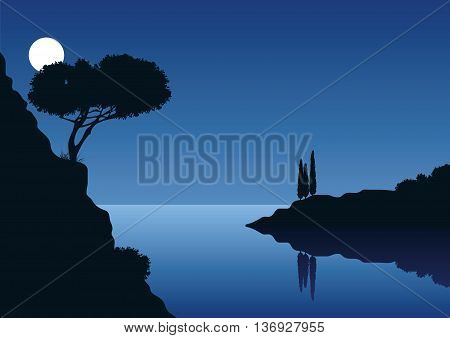 mediterranean coast landscape with full moon and the sea