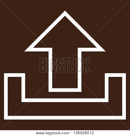 Upload vector icon. Style is thin line icon symbol, white color, brown background.