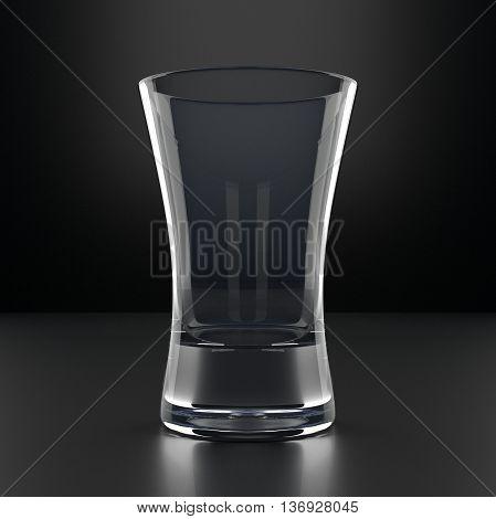 Empty Vodka Glass on black background. Alcoholic cocktail glassware. 3D illustration.