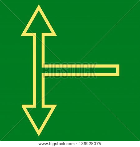 Bifurcation Arrow Up Down vector icon. Style is outline icon symbol, yellow color, green background.