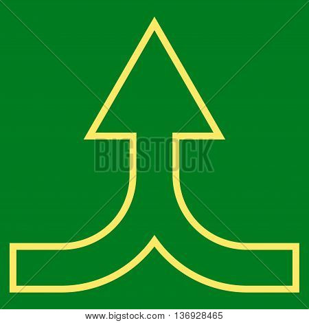 Combine Arrow Up vector icon. Style is thin line icon symbol, yellow color, green background.