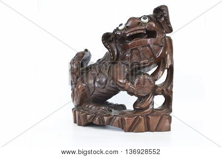 Wooden Antique Chinese Do Sculpture on White Background