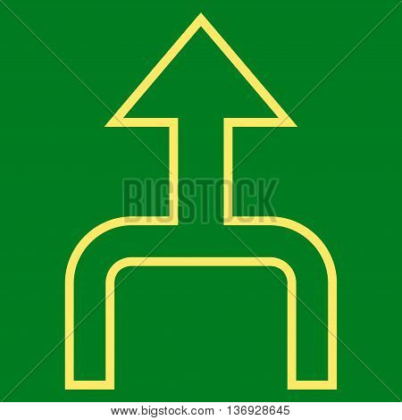 Combine Arrow Up vector icon. Style is outline icon symbol, yellow color, green background.
