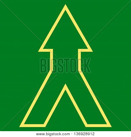 Connect Arrow Up vector icon. Style is thin line icon symbol, yellow color, green background.
