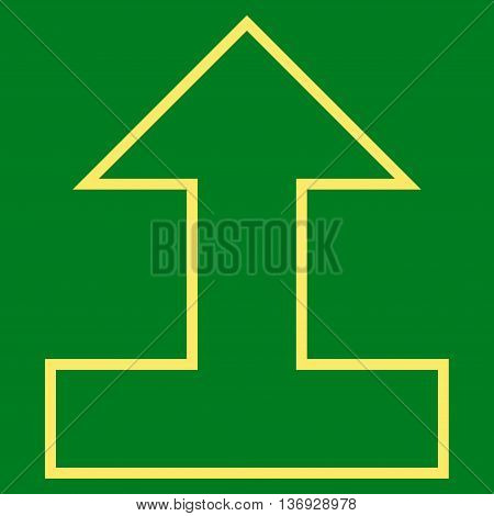 Connect Arrow Up vector icon. Style is contour icon symbol, yellow color, green background.