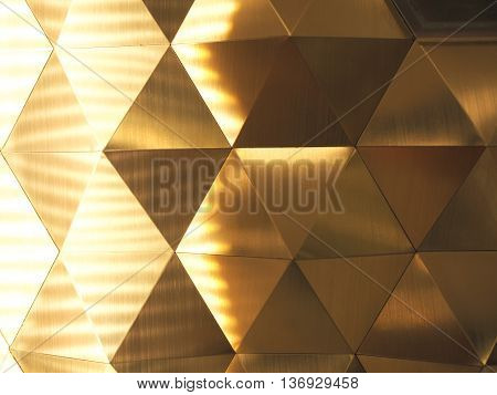 Golden Yellow Low Poly Geometric Abstract Background With Lighting On The Left