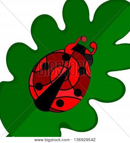 abstract image of green leaves and red black ladybug consisting of lines