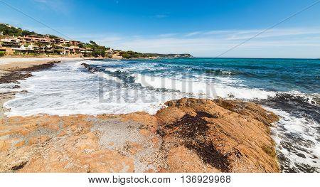 rough sea in Piccolo Pevero beach Sardinia