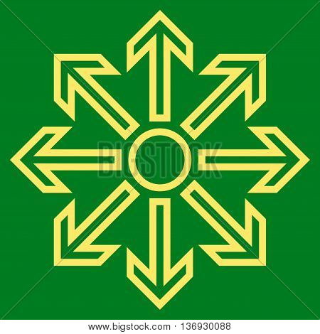 Maximize Arrows vector icon. Style is contour icon symbol, yellow color, green background.