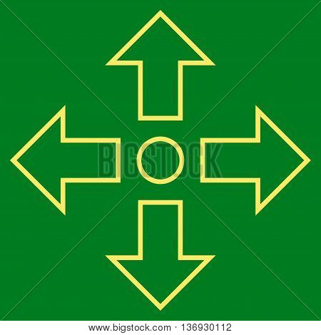 Maximize Arrows vector icon. Style is thin line icon symbol, yellow color, green background.