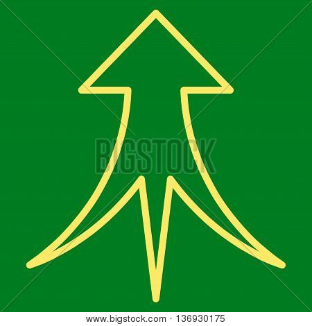 Merge Arrow Up vector icon. Style is outline icon symbol, yellow color, green background.