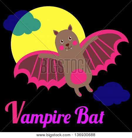 Cute animal alphabet for ABC book. Vector illustration of cartoon vampire bat. V letter for the Vampire Bat