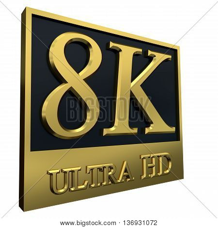 Ultra HD 8K icon isolated on white background, 3d illustration