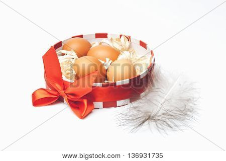 Brown Eggs In Decorative Box