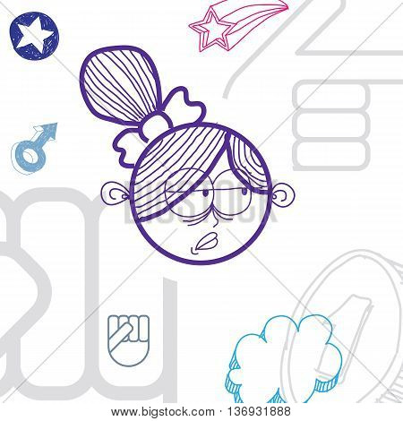 Vector graphic colorful drawing of personality face happy female with stylish haircut. Social network theme illustration. Human emotions idea.