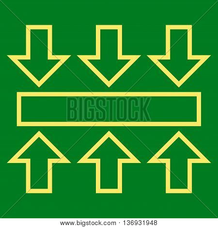 Pressure Vertical vector icon. Style is contour icon symbol, yellow color, green background.