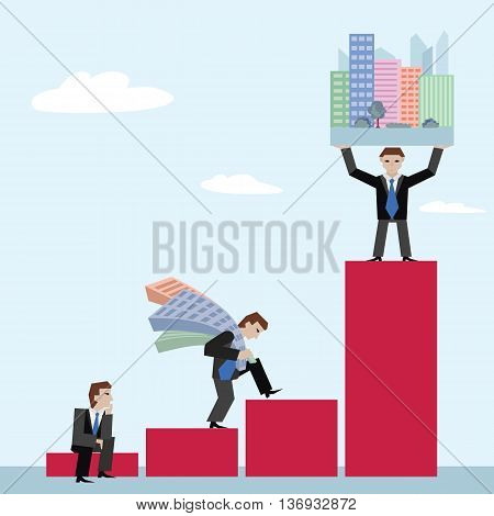 Businessman holding houses. Business concept the real estate market with chart. Vector illustration of businessman with houses standing on chart on sky background.