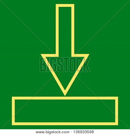 Push Down vector icon. Style is thin line icon symbol, yellow color, green background.